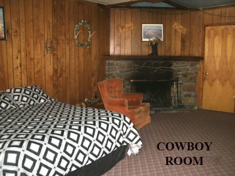 """COWBOY ROOM with one Queen size bed with a wood burning fireplace.  A large comfortable room with a private bath.  Come on and experience a great visit to Cloudcroft.  575-682-2221"