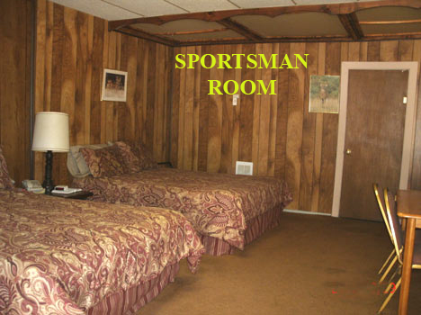 "Alta Vista Chalet Motel's ""SPORTSMAN ROOM"" has two Queen size beds.  A large comfortable room with a private bath.  Table and chair for your computer work. Come on and experience a great visit to Cloudcroft.  575-682-2221"
